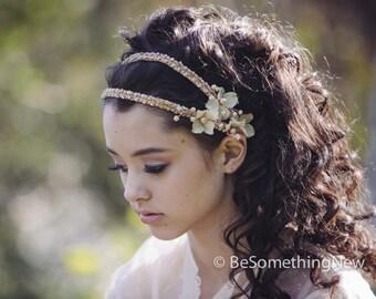 Bridal Headpeice Beaded Double Tie Blush Wedding Headband with Flowers and Beading , Boho Wedding Hair, Wedding Headpiece, Ribbon Tie