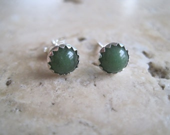 Nephrite Jade and Sterling Silver Stud Earrings