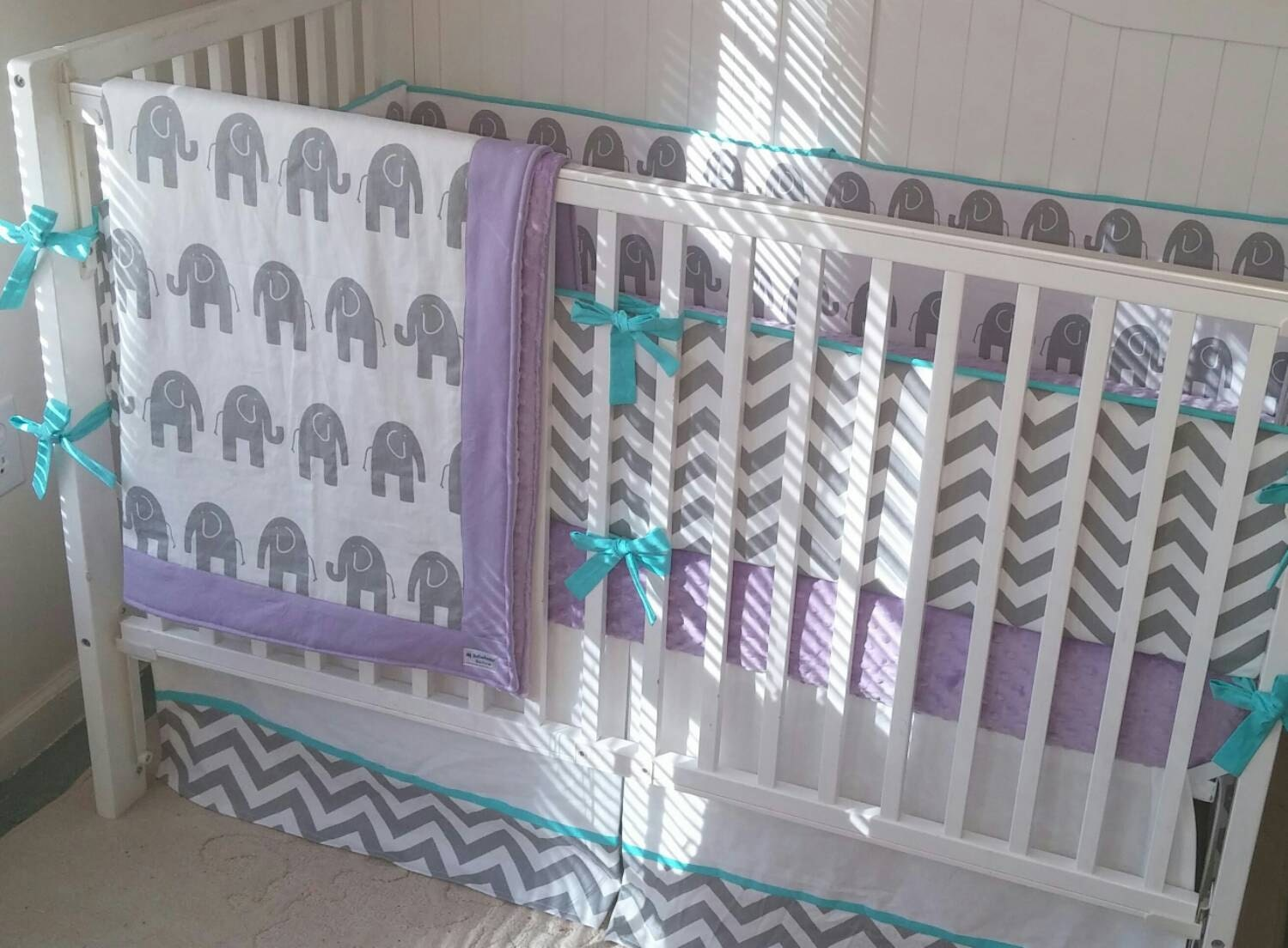 crib bedding set gray aqua and purple elephant. Black Bedroom Furniture Sets. Home Design Ideas