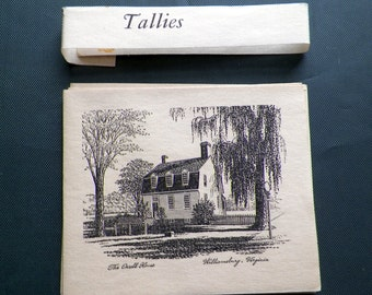 Vintage Tallies Sketched Williamsburg, VA  Bridge Tally Cards (16) Original 4 Scenes-Unused