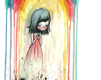 "5x7 fine art print - ""Babe Rainbow"" - artwork by Jessica von Braun - Artwork inspired by Melanie Safka - Watercolor print"