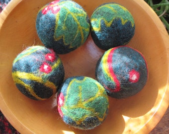 Christmas Holly Wool Felted Balls