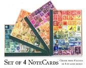 4 Postage Stamp Notecards - Colourful Collage Art Print, blank A6 note cards, any-occasion greeting cards, mail art - snail mail card set