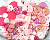 82 Vintage Plastic Buttons in Shades of Pink - Pastel, Rose, Blush, Fuschia, Cotton Candy
