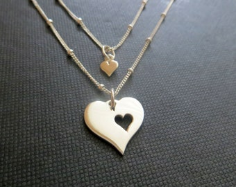 Mother daughter jewelry, heart necklace, 925 sterling silver satellite chain, mother daughter necklace, birthday gift for mom