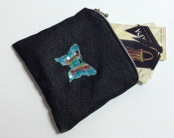 Coin purse, blue butterfly