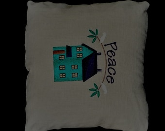 Pillow, Country, Primitive, Home, Peace 12x12 on linen READY TO SHIP