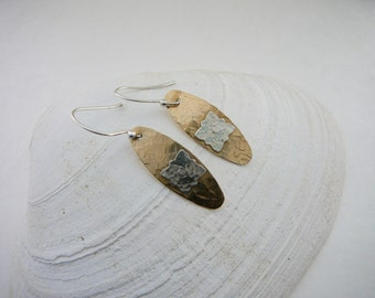 Hand Hammered Brass and Sterling Silver Drop Earrings