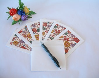 Japanese paper - six blank notecards -all one pattern- rust and multicoloured wildflower meadow  katazome - Ready to ship