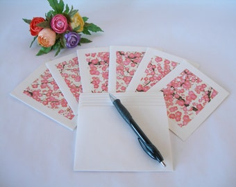 Japanese paper - six blank notecards -all one pattern- pink plum blossom- Ready to ship