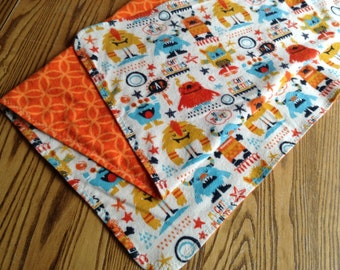 X-Large Flannel Swaddler Blanket for Baby Boy, 38x38 inches, Mighty Monsters