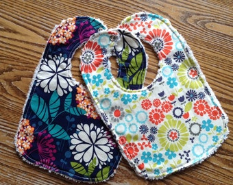 Set of 2 Modern Floral Baby Girl Bibs, Chenille Back, Snap Closure, ready to ship