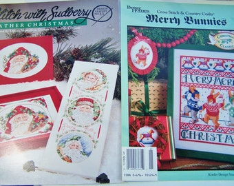 Christmas Cross Stitch Patterns - Father Christmas and Merry Bunnies, Sudberry Patterns, Needlework Winter Holiday Patterns, Christmas Decor