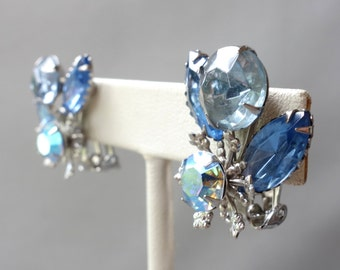 Vintage Beaujewels blue rhinestone silver tone clip on earrings