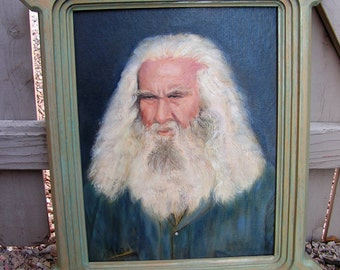 Vintage h. HEALD Signed Original Oil Acrylic Painting Portrait Bearded Military Man Sea Captain