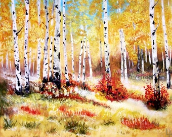 "Aspen Tree Art Print Quaking Aspens Trees Quakies Aspens White Birch Red Golds Mountains ""Autumn Gold""  Leslie Allen Fine Art"