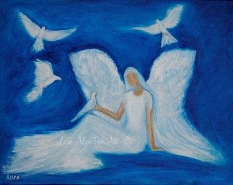 "Angel  Painting Angels Paintings Angel Art Angel Wall Art Angel Decor Art Religious Inspirational ""Angel Of Peace""Leslie Allen Fine Art"