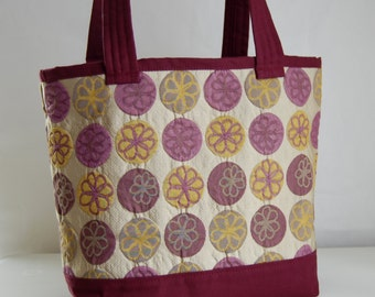 Flower Rounds Fabric Tote Bag - READY TO SHIP