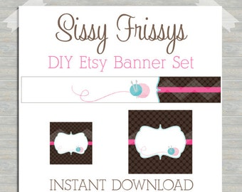 INSTANT DOWNLOAD Sewing Knitting Crochet Needlepoint Premade Etsy Banner Set - Etsy Shop Banner Set - Etsy Banner Set - 181524874 Blank DIY