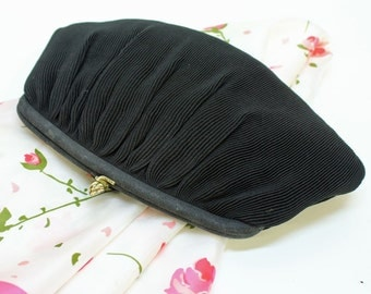 60's / 70's Black Clutch Evening Bag / Pleated Black Satin