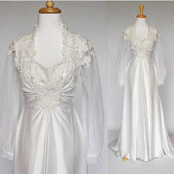 70 39 s jersey knit wedding gown long sleeves train
