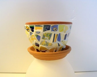 Mosaic Tiny  Flower Pot  Blue and Yellow