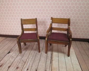 "Antique Dollhouse Furniture - 2 Schneegas Golden Oak Chairs - 3/4"" Scale"