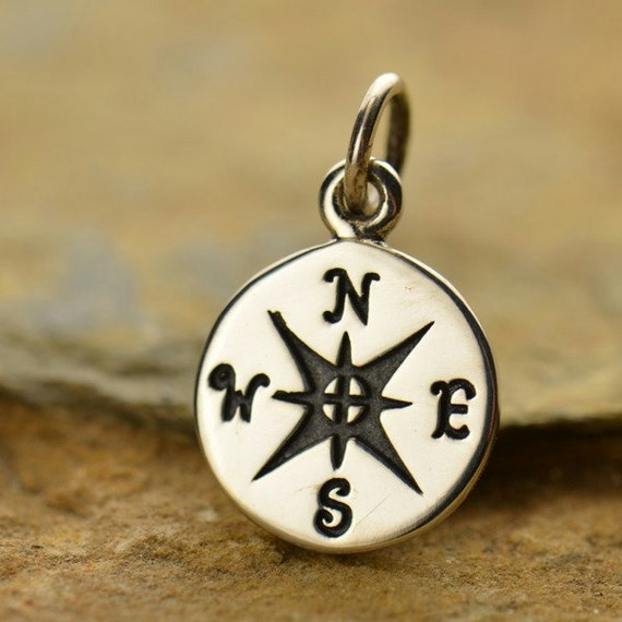compass charm in sterling silver sd832 by sdsupplies on etsy