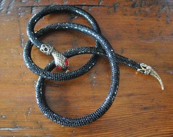 Vintage Snake Necklace or Belt / black