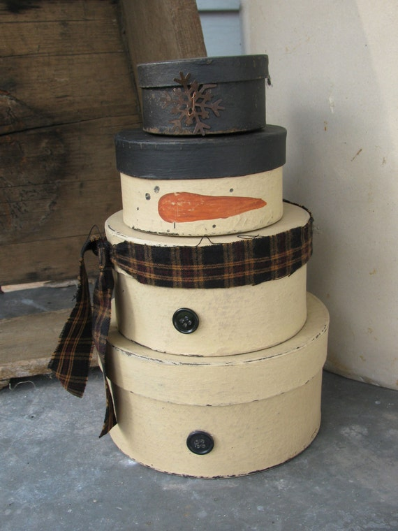 Primitive Stackable Snowman Set of 4 Round Stacking Boxes GCC04274