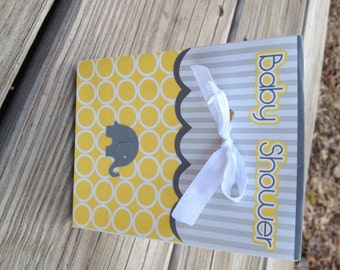 Pack of 8 baby shower goody bags in yellow and grey with elephant.  Ships free with any other order in my shop.