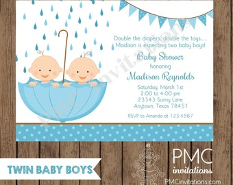 Custom Printed Twin Boy Baby Shower Invitations - 1.00 each with envelope