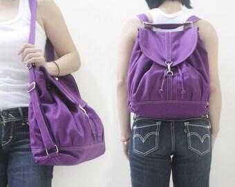 Canvas Backpack / Shoulder Bag in Purple, Satchel, Rucksack, Tote, Drawstring Bag, Hobo Bag, Gift Ideas for Women - PRESSIE - SALE 20% OFF