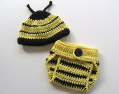Ready To Ship - Crochet Bumble Bee Photo Prop Set - Bee Hat and Diaper Cover Set - Black and Yellow Bee Photo Prop Set - Size 0 to 3 Months