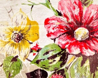 Dazzling Daisies Mid Century Barkcloth// Vintage Floral Fabric// Cotton Yardage//Upholstery Weight// New Old Stock