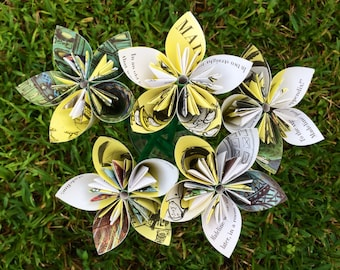 Madeline Recycled Book Paper Flowers {5 Medium Size}