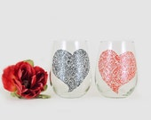 Valentine wine glasses - Set of 2 - Hand painted white wine glasses - Sweetheart glasses