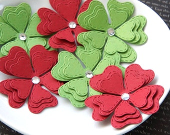 12 Christmas Paper Flower Embellishments in Red & Green