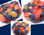 Fiber BFL 70 / KID 30 Mohair Handpainted 134g top roving spinning fibre Embers