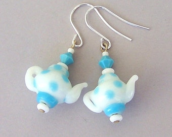 Turquoise teapot earrings, blue polka dot teapot glass earrings