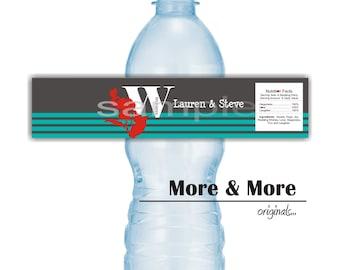 Personalized Water Bottle Labels - Set of 30 Labels - Wedding Bottle Labels - Bachelorette Party Decorations
