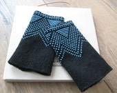 Black hand knitted lithuanian wrist warmers beaded with light blue glass beads - wavy pattern