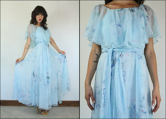 Vintage 70s Hippie Prairie Girl Wedding Dress Gown S M: Vintage 60s Floral Prom Boho Flowy Flared Belted Ruffle Baby