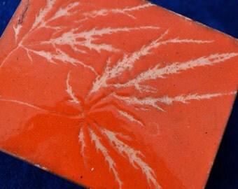 Orange Marijuana Leaf Imprint Enamel Box/Vintage 1960s/Mid Century Modern Decorative Box/Marijuana Medicine Box
