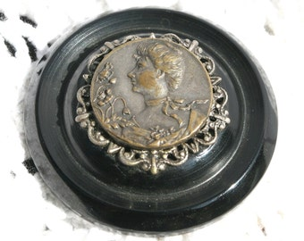 Magnetic Brooch Vintage Black Bakelite Button with Antique Silver Victorian Cameo Button