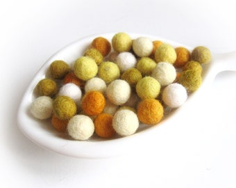Felt Balls Sunflower Color Mix - 50 Pure Wool Beads 10mm  (W200C)