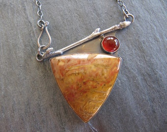 RESERVED Necklace of Petrified Wood, Carnelian, and Cast Twig in Sterling Silver