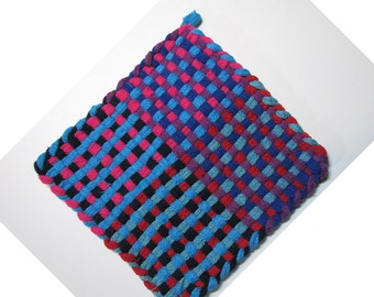 Fun Blue and Red Hand Woven Large Cotton Potholder No.14