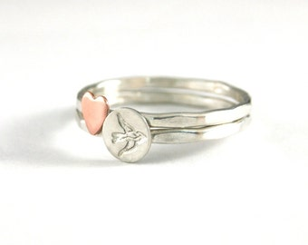 Stack Rings, Sparrow Ring, Silver Rings, Sterling Silver Sparrow Ring, Heart Stack Ring, Sterling Stack Rings, Set of 2