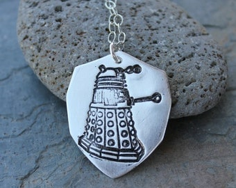 Dalek Necklace - Handmade fine silver shield pendant - Sterling silver chain - Exterminate! - Doctor Who -Whovian Fun - Free Shipping USA